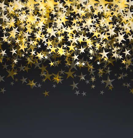 glitter golden stars falling over black background. abstract celebration vector background