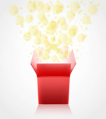 surprise box: red gift box with surprise opening with glowing glitter. vector Illustration