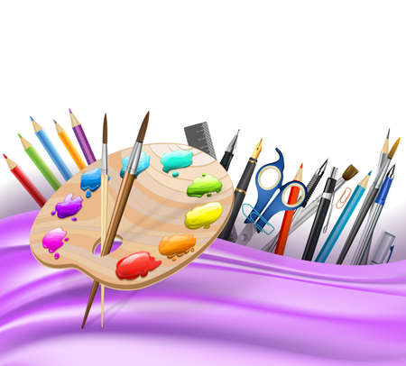 palette: background with wavy lines and color pencils, art palette, brushes, pens. vector