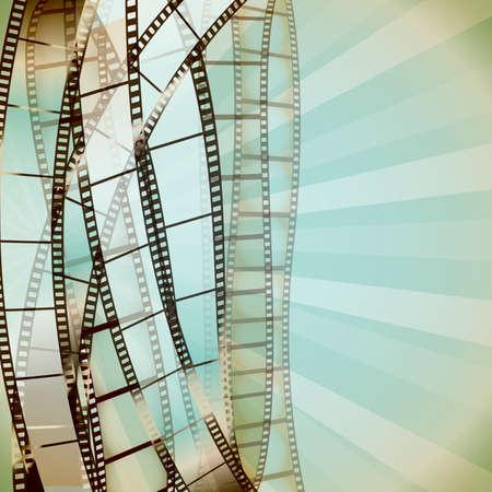 cinta pelicula: Fondo retro con tiras de película de cine. vector Vectores