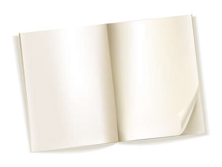 open magazine: open blank magazine yellowish pages on white. vector
