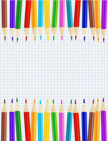 notebook paper background: sheet of paper with color pencils row borders. vector Illustration