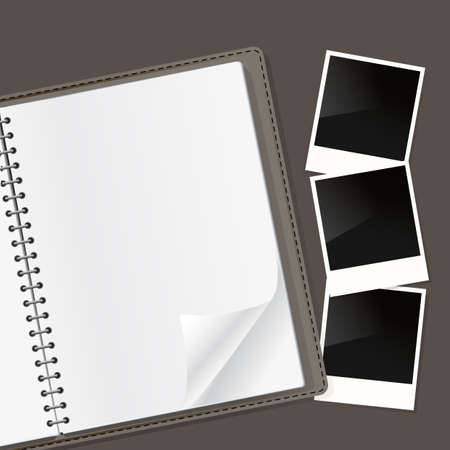 open notebook: photo frames composition on open notebook with spiral. vector