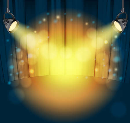 closed club: light spots on curtains background. vector illustration