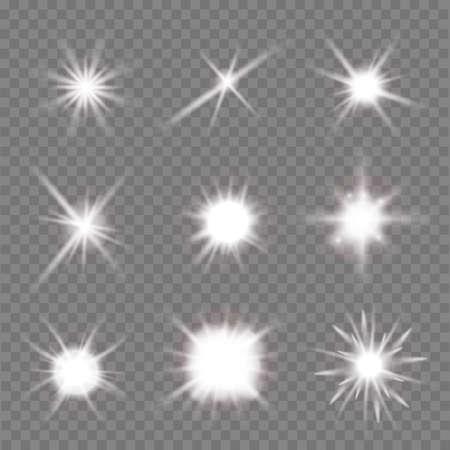 flashes: set of light flashes over transparent background. vector illustration