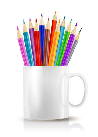 color pencils: White realistic cup with color pencils