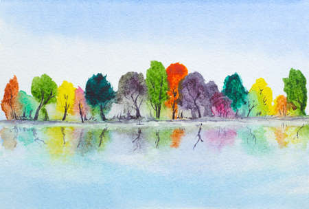 early in the evening: watercolor hand painted lake with autumn trees with reflection