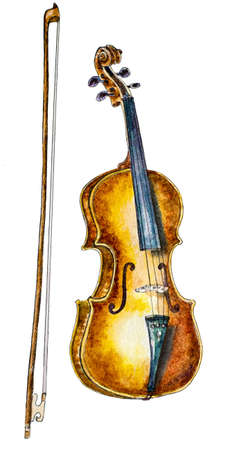 fiddle bow: watercolor violin and a bow on white. hand painted illustration Stock Photo