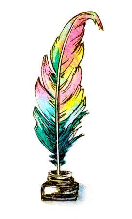 pluma de escribir antigua: El ejemplo pintado a mano acuarela de una pluma de ave en el tintero