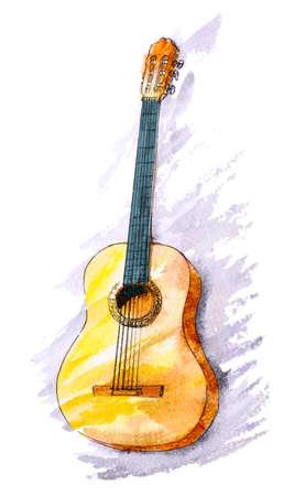 수채화 손으로 클래식 기타 그렸다. 세련 된 닦 았된 그림