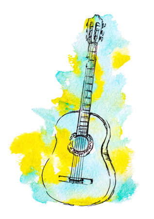 hand drawn classical guitar and watercolor splash illustration Фото со стока