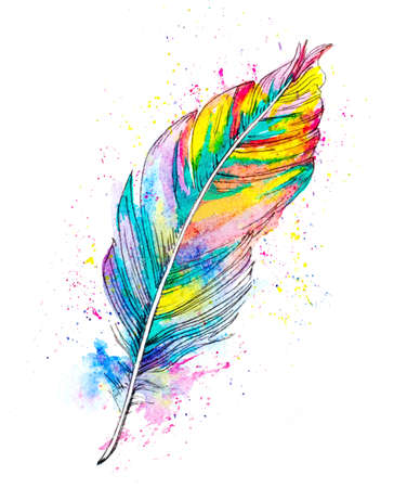 hand painted watercolor illustration of a feather and color splashes