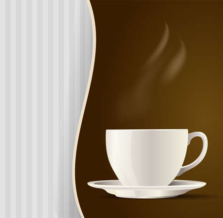 drinking coffee: white cup tea or coffee menu background. vector illustration