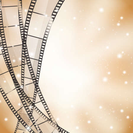 brown cinema background with retro film strips and stars