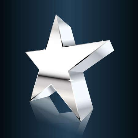 dark chrome: chrome star on dark blue background. vector illustration