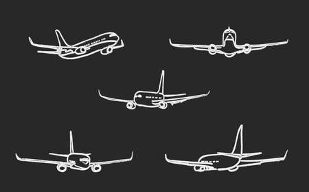 chalk drawing: set of outline chalk airplanes for Your design. vector illustration