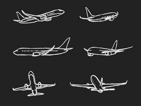 chalk drawing: set of outline chalk airplanes for Your design. aviation theme vector illustration Illustration