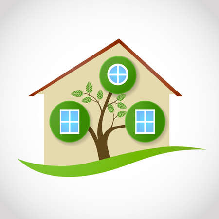 symbole de l'immobilier de la maison écologique avec des arbres et des feuilles comme des fenêtres. illustration vectorielle conceptuel