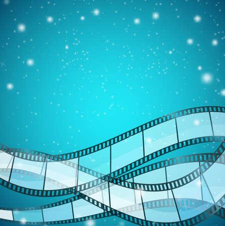 rollo pelicula: Fondo del cine con tiras de película sobre fondo azul con rayas y partículas brillantes. ilustración vectorial Vectores