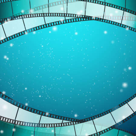 35mm film motion picture camera: cinema background with film strips as frame over blue background with stripes and glittering particles. vector illustration