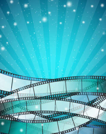 rollo pelicula: Fondo del cine vertical con tiras de película sobre fondo azul con rayas y partículas brillantes. ilustración vectorial