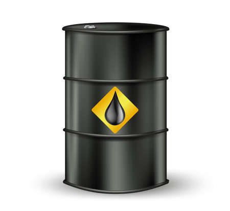 natural gas prices: black metallic oil barrel with petrol drop sign. vector illustration Illustration