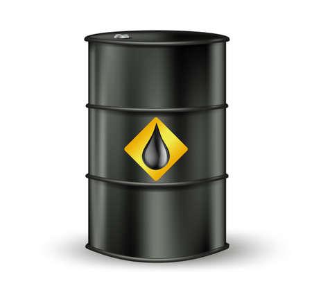 barel: black metallic oil barrel with petrol drop sign. vector illustration Illustration