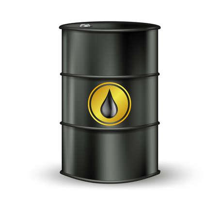 barel: black oil barrel with petrol drop sign. vector illustration Illustration