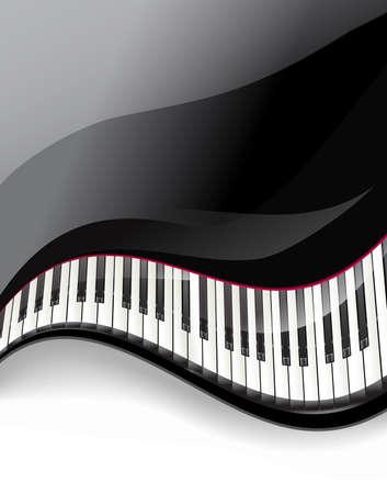 clavier: grand piano keys wavy background. vector illustration Illustration