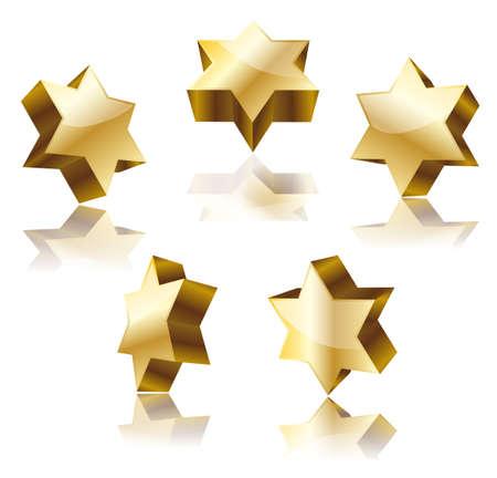 hasidism: set of golden star of David on white. vector illustration