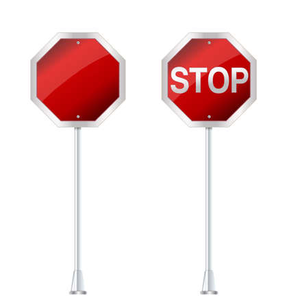 drive ticket: stop sign on white vector illustration