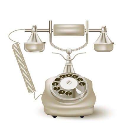 vintage phone: vintage phone on white. vector illustration