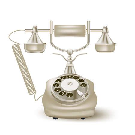 vintage phone: vintage phone on white. vector illustration