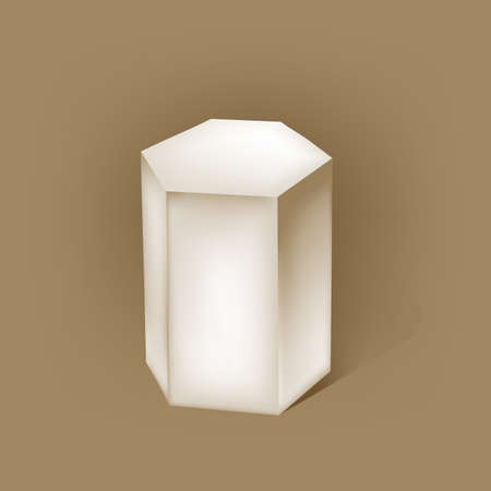 prism: white hexagonal prism on brown. vector