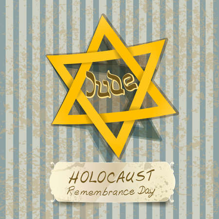 genocide: holocaust remembrance day illustration with Star of David. vector