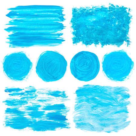 gouache: blue gouache stains set isolated on white Stock Photo