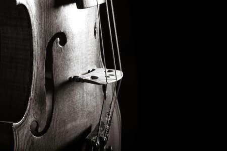 up close: violin closeup monochrome photo on black background