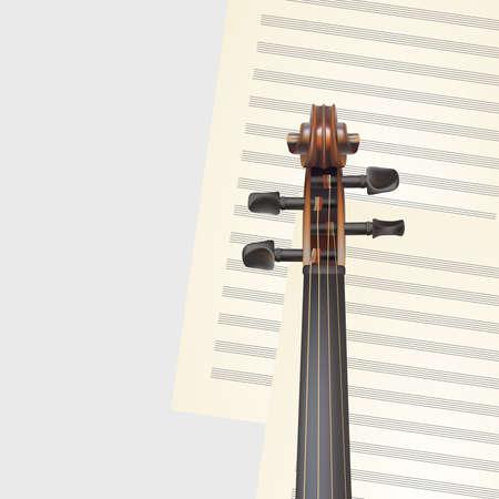 artistry: violin neck on musical background