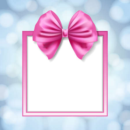 pink satin: pink bow and square box frame on blurry light blue background. vector illustration