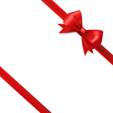 gift ribbon: red silky bow ribbon on white background. holidays gift symbol decorative design element. vector