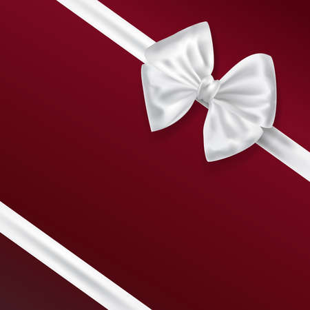 white bow: white bow ribbon decoration on red background. vector illustration