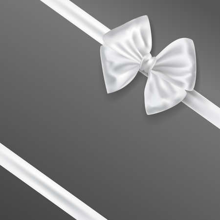 white bow ribbon decoration on grey background. vector illustration