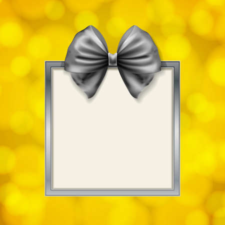 gift card: shiny bow and square box frame on blurry golden background. vector illustration Illustration