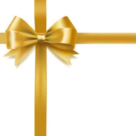 golden bow on white. decorative design element. vector