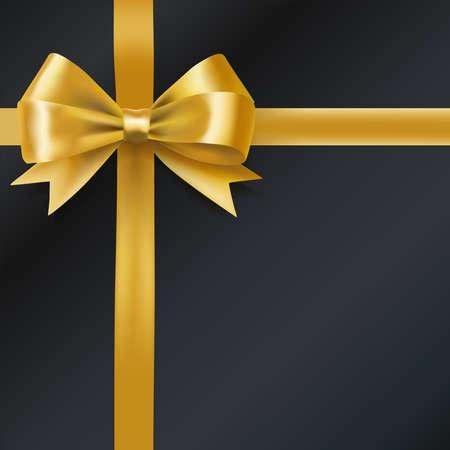 golden bow ribbon on black. decorative design element. vector