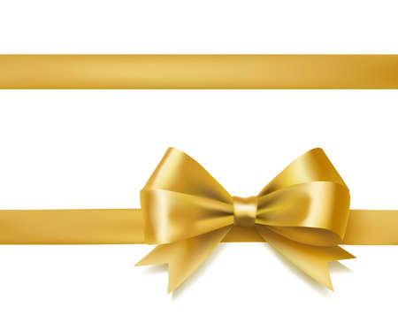 golden bow ribbon on white. decorative design element. vector