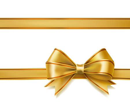 golden ribbon bow on white. vector decorative design elements Vettoriali