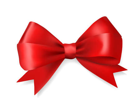 red ribbon bow: red silky bow ribbon on white background. holidays gift symbol decorative design element. vector