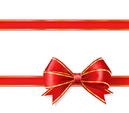 red ribbon bow with gold on white. vector decorative design elements Фото со стока - 59177611