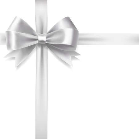 silver ribbon bow over white background. vector decorative design elements Фото со стока - 59177612